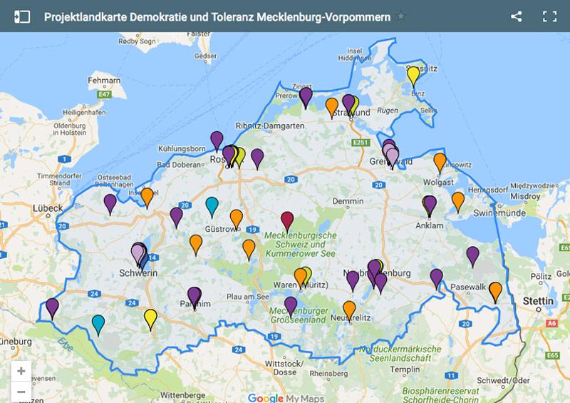 Projektlandkarte für Demokratie und Toleranz